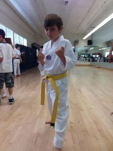 Mattias got his yellow belt.