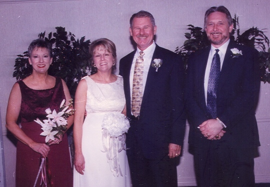 My best friend Mary was my matron of honor, and David's best friend Roger was his best man.