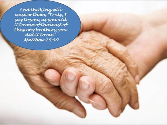 Caregiving hands with scripture