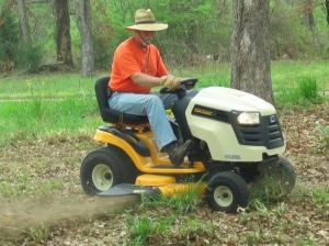 David mowing