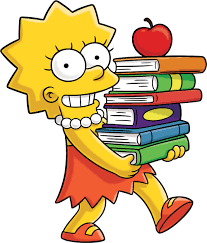 Lisa with stack of books