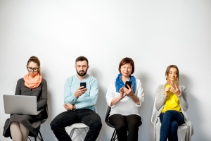 Waiting room with phones